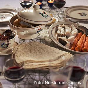 Fisk i lefsebrød. Foto: Norsk tradisjonsmat